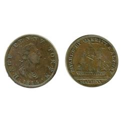 Breton-881.  NS-9.  1814.  Carritt & Alport.  ICCS Very Fine-30. Scratch.