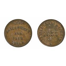 Breton-919.  PE-7C1.  1857. P.E.I.  ICCS Mint State-60.