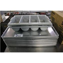LARGE STACK OF BAKING TRAYS & MISC