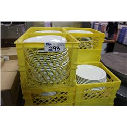 7 CRATES OF WHITE DINNER PLATES