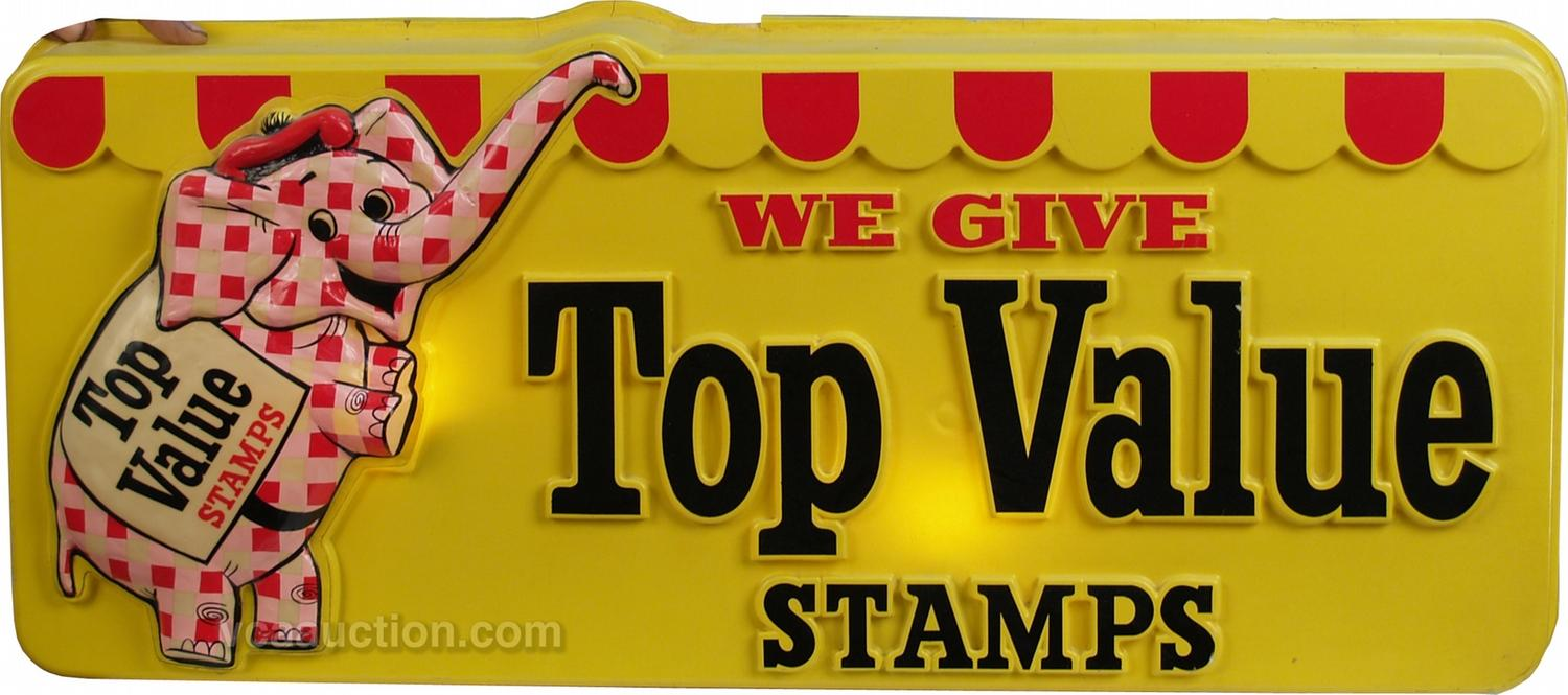 Wall Mount Embossed Plastic Top Value Stamps Light-Up