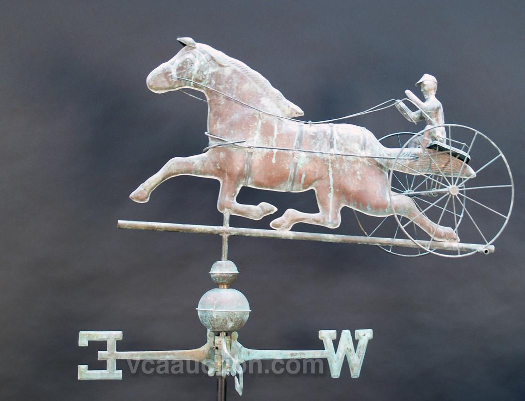 Antique 20th Century Copper Horse & Sulky Weathervane