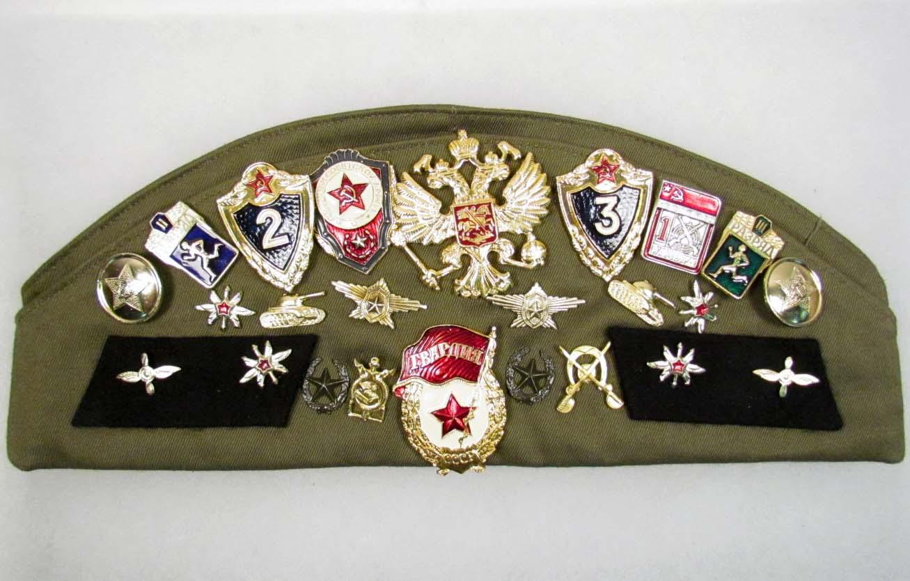 SOVIET ARMY HAT W/ PINS AND PATCHES
