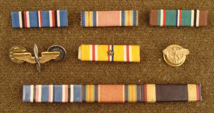 WWII US GI LOT-AAF INSIGNIA 5 RIBBON BARS RUPTURED DUCK