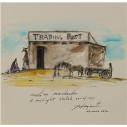 Ted De Grazia, Watercolor & Ink Inside book Troopers West Military & Indian Affairs on the Am Front