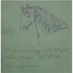 Ila Mae McAfee, Ink sketch inside the book Indians, Horses, Hills, Et Cetera