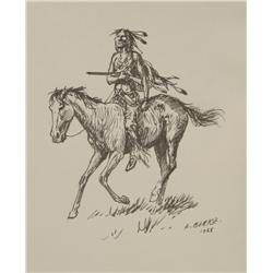 Ernest Berke, Ink sketch inside the book The North American Indians