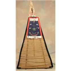 Blackfoot Teepee Backrest with Original Poles, Early 20th century