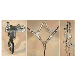 Silver Mounted Saddle, Bridle and Martingale, Olson Nolte Silver