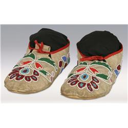 Oto Man's Floral Beaded Moccasins, circa 1910s