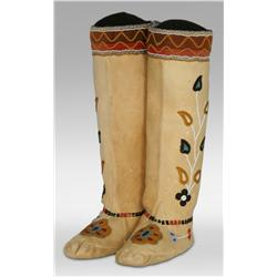 Cree Indian High Top Beaded Moccasins, 19th century
