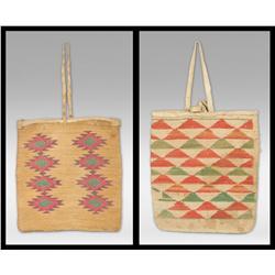 Pair of Nez Perce Corn Husk Bags, circa 1890s
