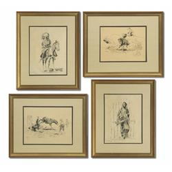 After Charles M. Russell, Four Pen and Ink Drawings
