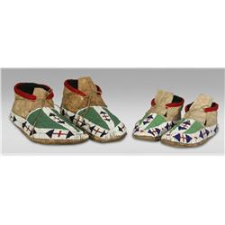 Sioux Father and Son Beaded Moccasins, 19th century
