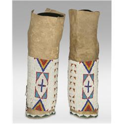 Sioux Beaded Woman's Leggings, circa 1890s