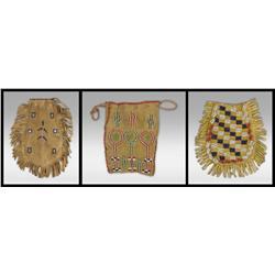 Three Beaded Bags - Apache & Sioux