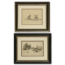 Pair of etchings by Will James and Hans Kleiber