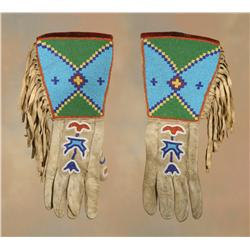 Blackfeet Beaded Gauntlets, Early 20th century