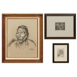 Dave Powell, charcoal drawing and 2 etchings