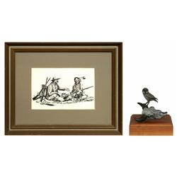 Fred Fellows, pen & ink drawing & bronze sculpture