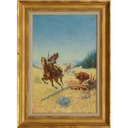 """Hart M. Schultz """"Lone Wolf"""", oil on canvas"""