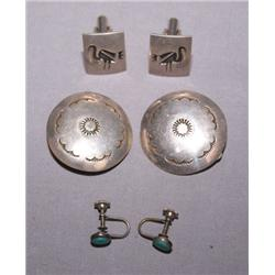 2 PAIRS OF NAVAJO EARRINGS AND ONE PAIR OF CUFFLINKS