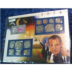 43. 1974 U.S. Mint Set in a special display page.
