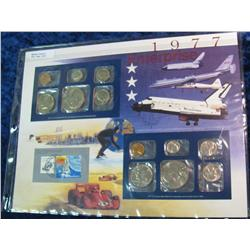 47. 1977 U.S. Mint Set in a special display page.
