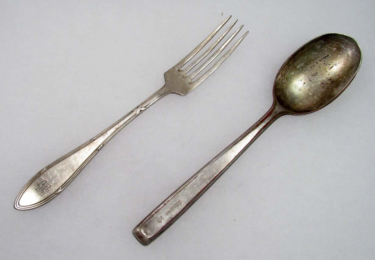 WW2 GERMAN NAZI WAFFEN SS SOUP SPOON AND SS FORK