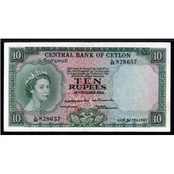 Ceylon - Central Bank of Ceylon, 1953-54 Issue Banknote.