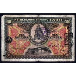China - Foreign Banks - Netherlands Trading Society, $10, 1909 Issue.