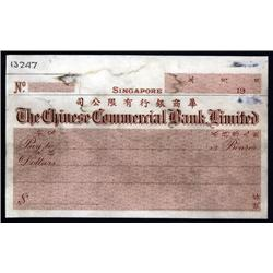 Singapore - Chinese Commercial Bank Limited Proof or Specimen Check By Waterlow.