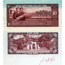 South Viet Nam - National Bank of Viet Nam, 1962 ND Issue, Face and Back Proof Pair.