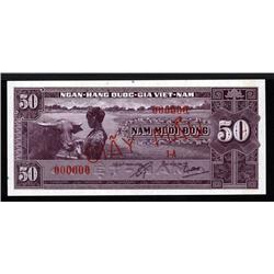 South Viet Nam - National Bank of Viet Nam 1956 ND Issue Specimen.