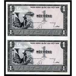 South Viet Nam - National Bank of Viet Nam, 1955 ND Third Issue Uncut Uniface Specimen or Proof Pair