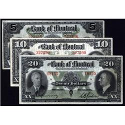 Canada - Bank of Montreal, 1938 Issue Banknote Trio.