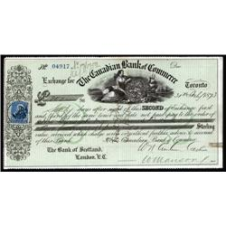 Canada - Canadian Bank of Commerce, 1873, 2nd of Exchange.