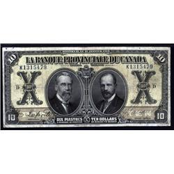 Canada - La Banque Provinciale Du Canada, 1913; 1928 Issue.