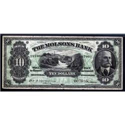 Canada - Molsons Bank, 1916 Issue Banknote.