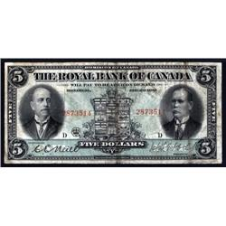 Canada - The Royal Bank of Canada, 1913 Issue Banknote.