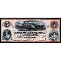 Canada - Bank of Brantford, 1859 Sault Ste. Marie Branch Issue Obsolete Banknote.