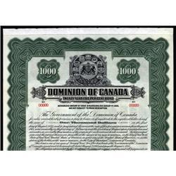 Canada - Dominion of Canada Specimen Bond, 1915 Issue.