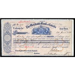 Canada - Merchants Bank of Canada, 2nd of Exchange.