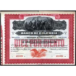 Colombia - Banco De Colombia, 1918-1919 Cedula Hipotecaria Issue Specimen.