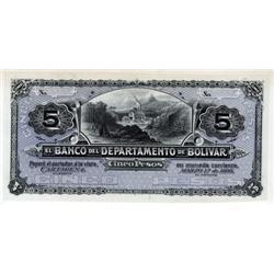 Colombia - El Banco Del Departamento De Bolivar, 1888 Issue Proof.
