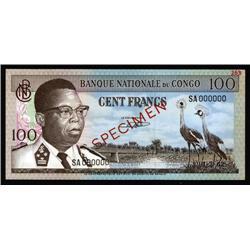 Congo - Banque Nationale Du Congo, 100 Francs, 1962 Issue Specimen.