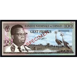 Congo - Banque Nationale Du Congo, 100 Francs, 1964 Issue Specimen.