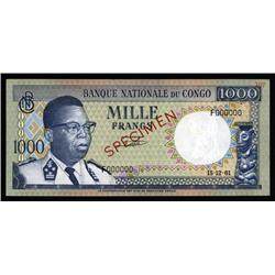 Congo - Banque Nationale Du Congo, 1000 Francs, 1961 Issue Specimen.