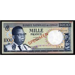 Congo - Banque Nationale Du Congo, 1000 Francs, 1964 Issue Specimen.