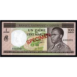 Congo - Banque Nationale Du Congo, 1 Zaires = 100 Makuta, 1968 Issue Specimen.